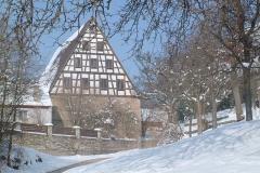 Winterliches Fachwerkhaus